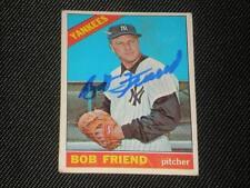 BOB FRIEND 1966 TOPPS SIGNED AUTO CARD #519 YANKEES HI#
