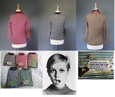 Vtg mock Brown turtleneck zipper back/Nylon/ striped 60s new M