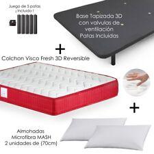 Colchón Viscoelástico VISCO Confort Fresh 3D + Base Tapizada + Almohadas Mash