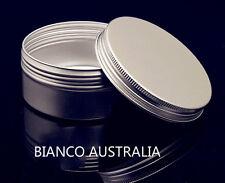 400X ALUMINIUM TINS, SILVER, SCREW CAP, VARIOUS SIZES, COSMETIC BALM CONTAINER