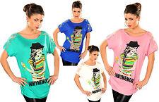 top donna  t-shirt maglia maglietta manica corta stampa e strass colorati tg uni