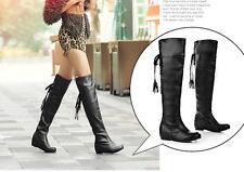 botas invierno cómodo alto muslo mujer tacón bajo 3.5 cm como piel 8821