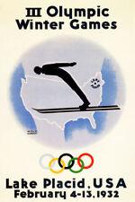 Olympic Winter Games 1932 Lake Placid Ski New York Vintage Poster Repro FREE SH