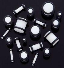 PAIR Plug White Acrylic  Ear Plug Gauges 14g 12g 10g 8g 6g 4g 2g 0g 00g