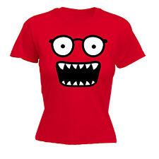 Monster Face WOMENS T-SHIRT Comic Glasses Smiley Cartoon Funny Gift birthday