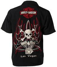 Harley-Davidson Las Vegas Cafe V-Twins and Skulls Biker Shirt, S