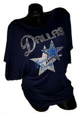 Dallas Game Ready Ladies Navy Flowy Draped Slv. Dolman Tee ~Cryst. & Shiny Ltrg.