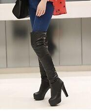 !Bottes Cuissardes Aspect Cuir Mode Fashion Haut-Talon carré P35- 45 NEUVES