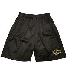 USS IOWA BB-61 Men Athletic Jersey Mesh 2 Pockets Black Basketball Shorts M-5XL