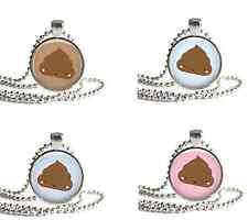 KAWAII HAPPY POO Cute Poop Glass Circle Round Photo Charm Pendant Accessory