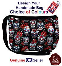 Sugar Skull Pattern Messenger Bag, Sugar Skull Shoulder Bag, Sugar Skull Bag,