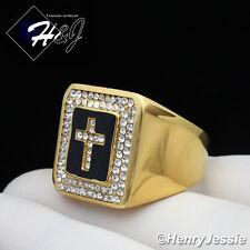 MEN Stainless Steel Black/Gold Cross ICED Square Ring Size 8-13*GR106