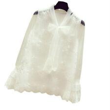 Women Lace Blouse Shirt Tops Mesh Flare Sleeve Fairy Sweet Casual Elegant