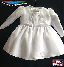 BABY GIRLS WHITE IVORY SATIN DRESS PARTY BRIDESMAID CHRISTENING WEDDING XMAS