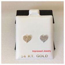 14K YELLOW/WHITE GOLD Children/Baby Heart cluster CZ Studs SCREW BACK Earring