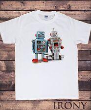 Camiseta para hombre Blanco Tokyo Tin Robot Camiseta Godzilla de Moda Juguete Divertido TSI10