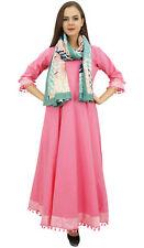 Bimba Évasé Pom-Poms Coton Rose Curled Anarkali Robe Classique Avec Écharpe