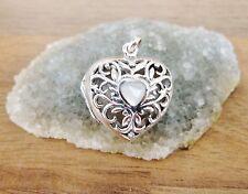 Plata Esterlina 925-forma de corazón Tallado Relicario-Ónix O Nácar