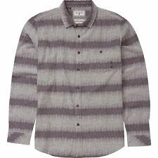 Billabong FADER STRIPE Grey Heather 100% Cotton L/S Flannel Men's Shirt