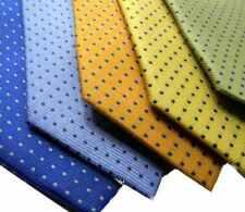 Cravatta azzurra arancione gialla blu china verde a  pois puntini punkts blu