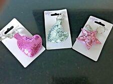 Sequinned Padded Glitter Bag Charm Keyring Star Heart Gifts