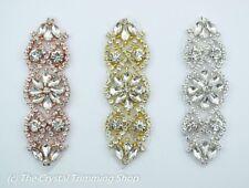 Bridal Rhinestone Applique- Wedding Belt- Bridal Belt DIY- Small Crystal Motif