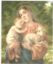 """Catholic Print Picture Mary w/ Jesus w lamb  8x10"""" art by Simeone"""