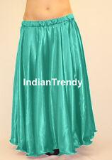 Turquoise - Satin Full Circle Skirt Belly Dance Costume Gypsy 9 Yard Flamenco