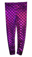 GIRLS METALLIC FISH SCALE LEGGINGS MERMAID KIDS SHINY FOIL CHILDRENS Purple 5-13