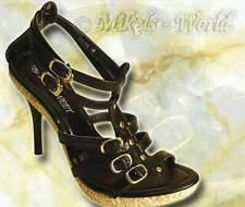 S-High Heels - Sexy Riemen Bast Sandalette Cleo schwarz
