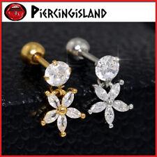 Diamond Daisy Drop Ear Cartilage Helix Barbell Ring Bar Stud Piercing Earring