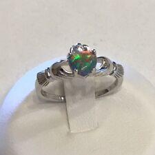 Sterling Silver Black Lab Opal Claddagh Ring, Friendship Ring, Loyalty Ring