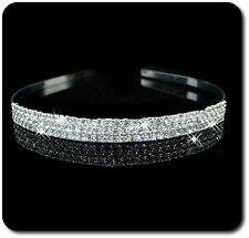 Luxus Tiara Diadem 3 Reihen Haarreif Kristall Strass Metall Hochzeit Kommunion