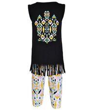 Girls black western fringe aztec shirt leggings outfit 12-18-24 2T 3T 4 5 NWT