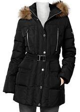 Michael Kors Black Belted Down Puffer Coat Jacket Fur Trim Hood XS, L $320
