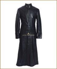 Neo Black Mens Matrix Full Length Real Soft Lambskin Leather Trench Coat Jacket
