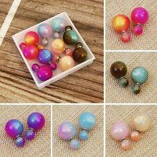 Double sided multi-color Faux Pearl Earrings