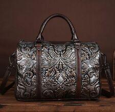 New Women Genuine Cow Leather Backpack Shoulder Messenger Bag Embossed Purse S