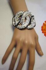 New Women Bracelet Fashion Gold / Silver Trendy Jewelry Braided Rhinestones Cuff