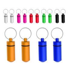 2x Waterproof Aluminum Pill Capsule Case Bottle Cache Drug Holder Keychain