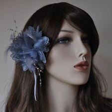 Ansteckblume Rose Perlen Blume Haarklammer Haargummi Brosche Federn Spitze grau
