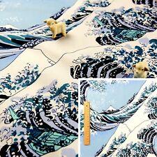 Medidor De Azul/cuarto Gordo/FQ tela de algodón japonés de la gran ola de kanagaw amplia