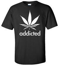 Addicted Marijuana T-Shirt Cannabis Plant Funny Dope Weed Wiz Khalifa Stoner Pot