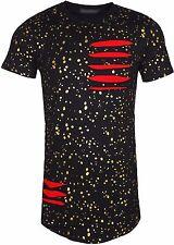 Para Hombre Diseñador rasgada Camiseta puntos de oro Manga Corta Cuello Redondo todo