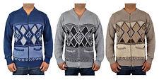 Men's Classic Grandad Zip-up Cardigan Jumper Knitwear Size S-5XL