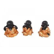 16cm Bronze Robed Cute Happy Fat Monks Sitting, Rare Colours