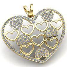 Genuine 3ct Round Cut Diamond Ladies Valentine Heart Pendant 18K Gold
