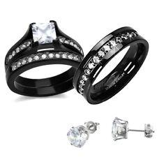 His Hers Wedding Ring Set CZ Black Stainless Steel & Titanium + Stud cs