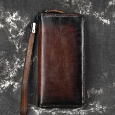 Genuine Leather Purse Clutch Wrist Bag Zipper Money Clip Women Handy Long Wallet
