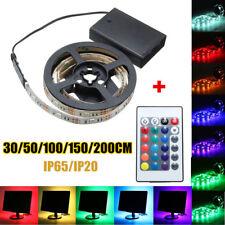 50-200cm RGB LED Strip Light 5050 SMD Battery LED Strip Light Remote Controller